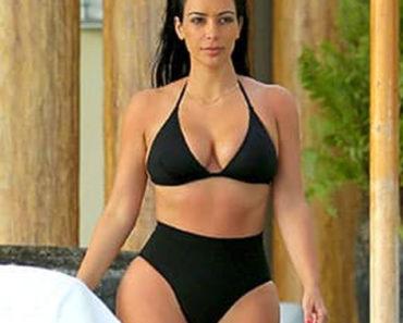 Kim Kardashian wearing bikini