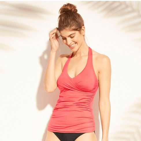 Coral swim tank with ruching