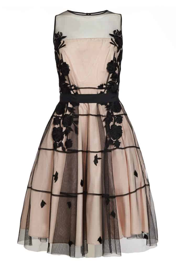 Dress with black floral sheer overlay