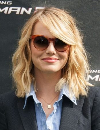 Emma Stone with lobbed haircut
