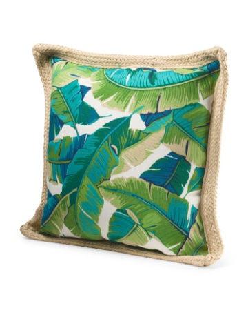 Green palm tree print pillow