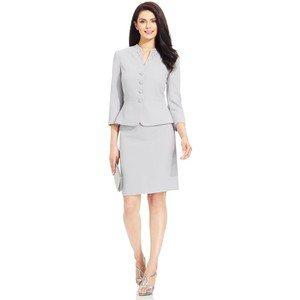 ASL Petite Embellished Collarless Skirt Suit, $209, macys.com