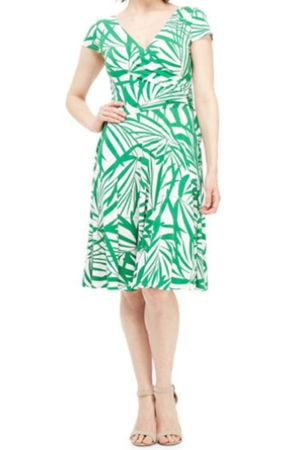 Green and white palm print dress