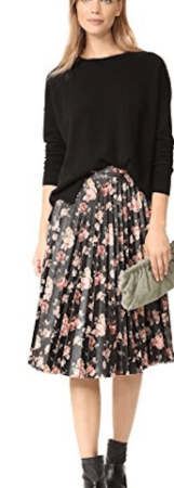 Pleated floral vegan leather skirt