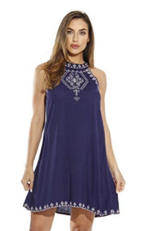 Navy embroidered sundress