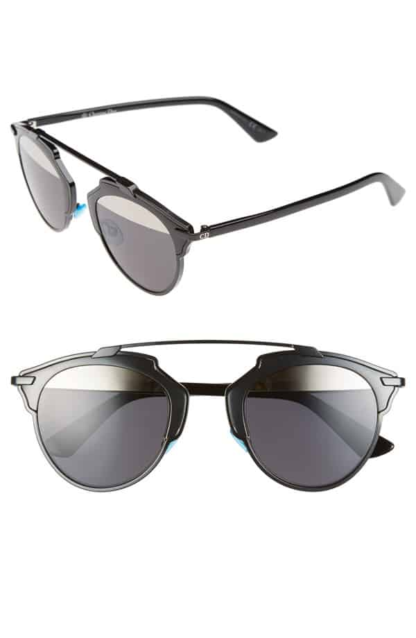 Two pairs of sunglasses: one inexpensive, one brand-name