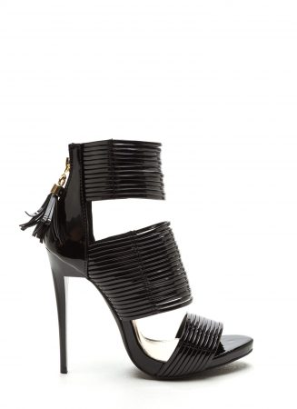 Black strappy heeled shoe
