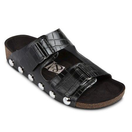 Black textured sandals
