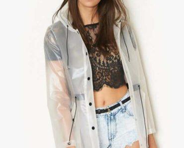 woman wearing rain mac