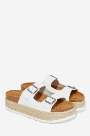 White platform sandals