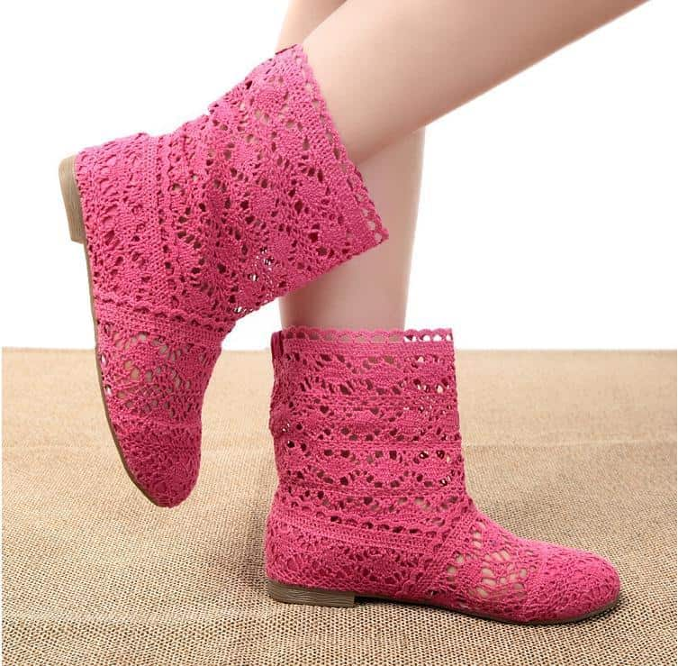 feet with pink crochet boots