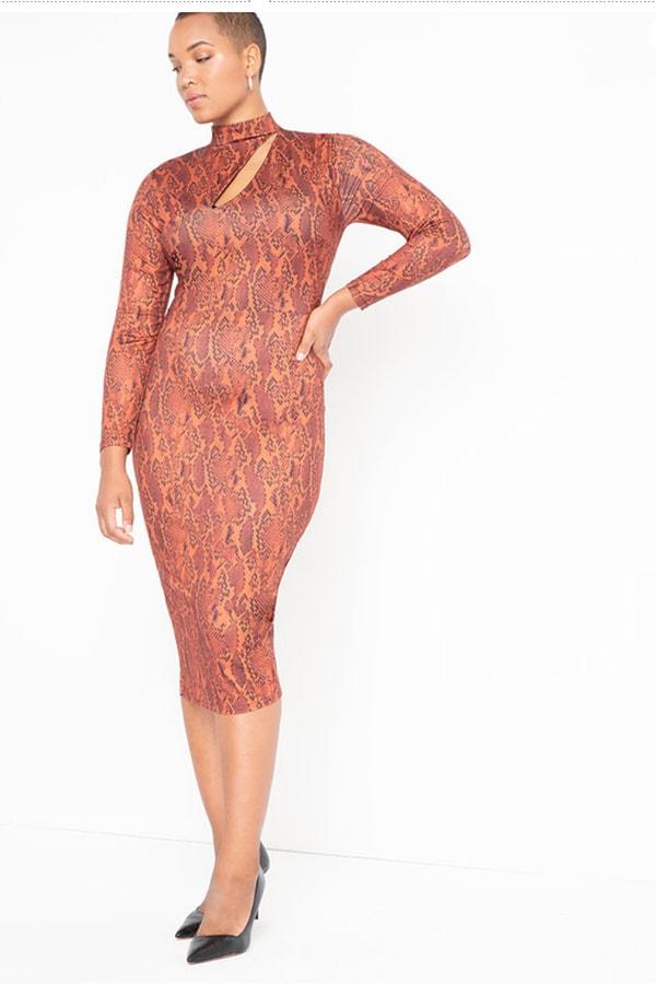Woman wearing patterned bodycon dress