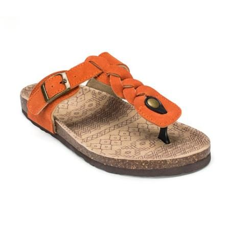 Turf sandals with orange strap