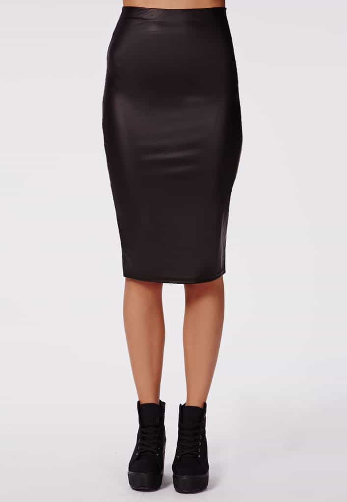 Wet look midi skirt, $16, Missguided