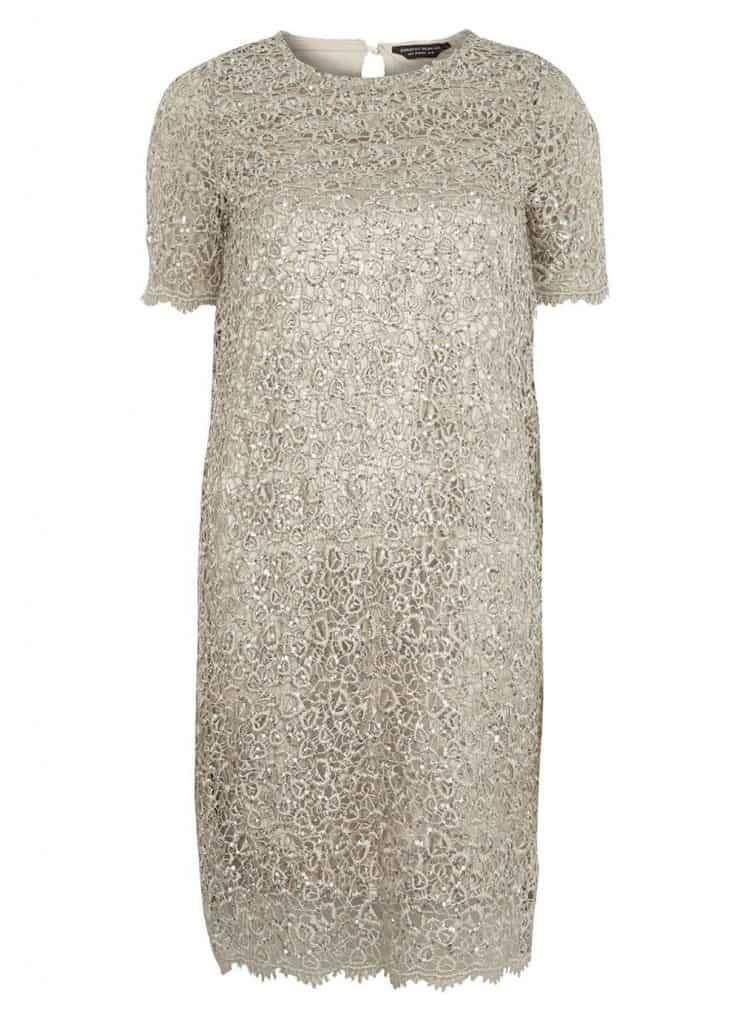 Champagne sequin dress, $59, dorothyperkins.com