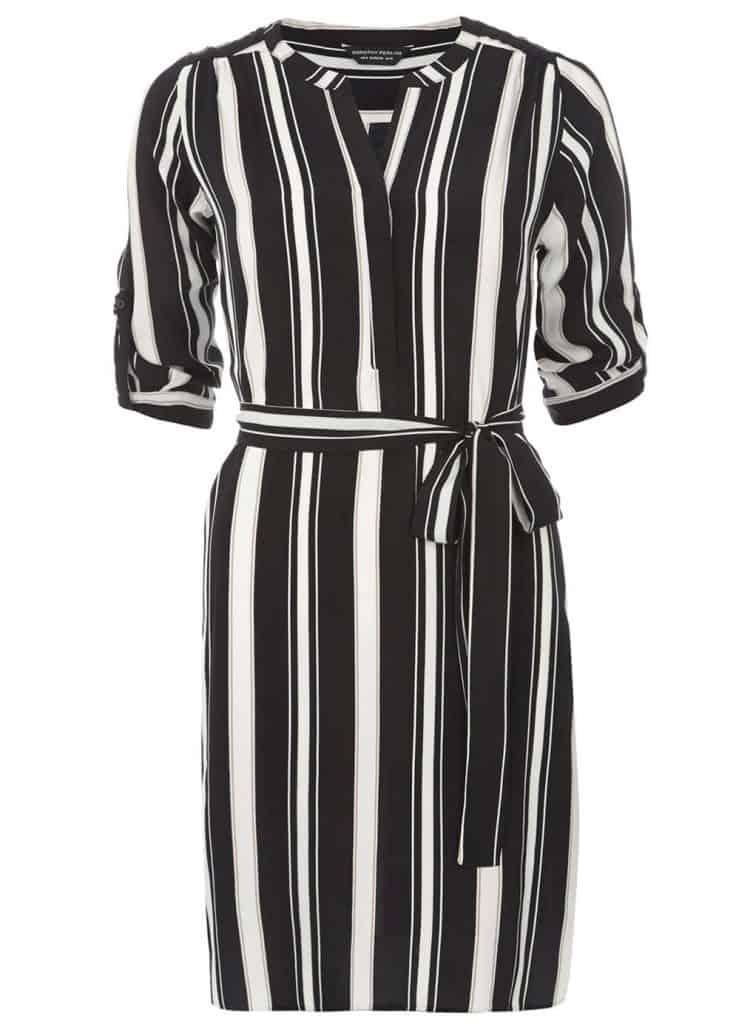 Black and camel stripe shirt dress, $39, Dorothy Perkins