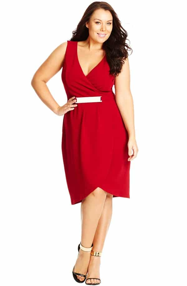 Woman wearing red wrap dress