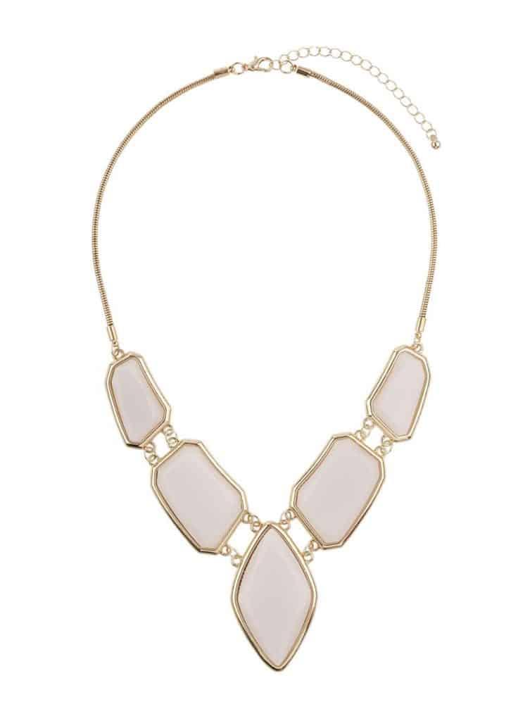 Billie & Blossom Cream Stone Necklace, $17, Dorothy Perkins
