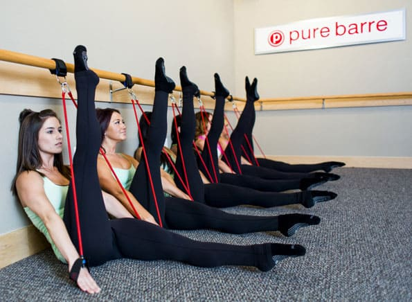 Woman participating in barre class