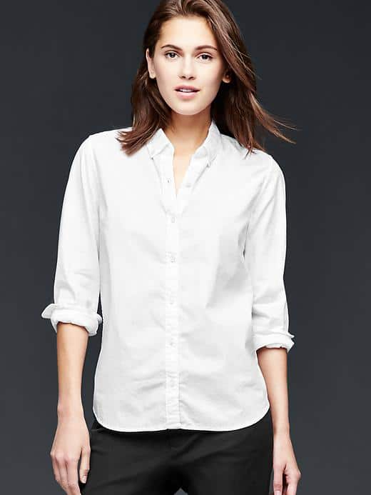 Girl wearing oxford top