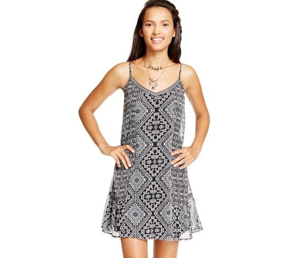 Black and grey slip dress