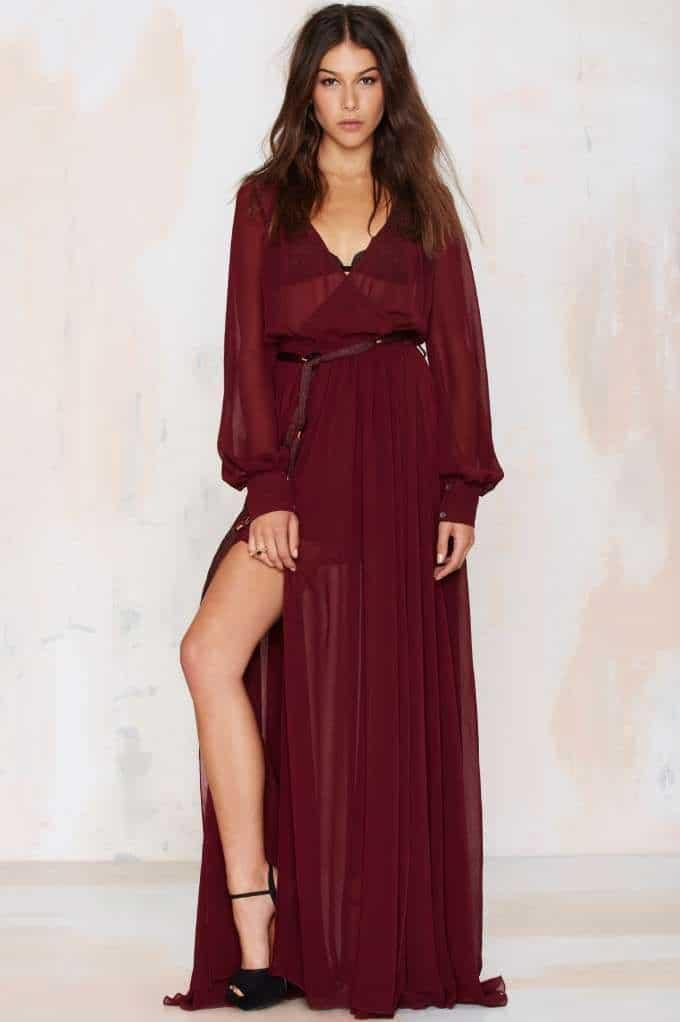 Go Your Own Way Chiffon Dress - Oxblood, $108, Nasty Gal