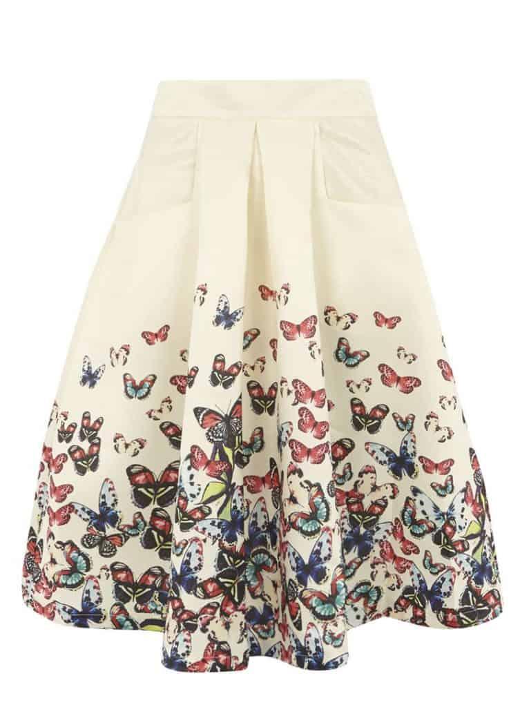 Jolie Moi Beige Butterfly Print Skirt, $39, Dorothy Perkins