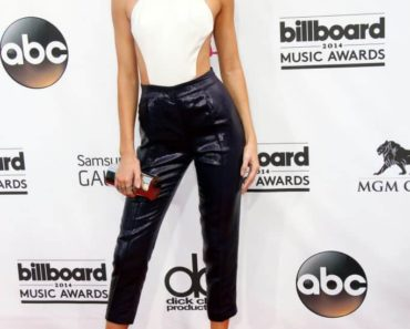 Kendall Jenner wearing leather pants