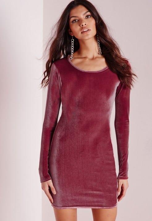 long sleeve velvet bodycon dress mauve, $25.50, Missguided