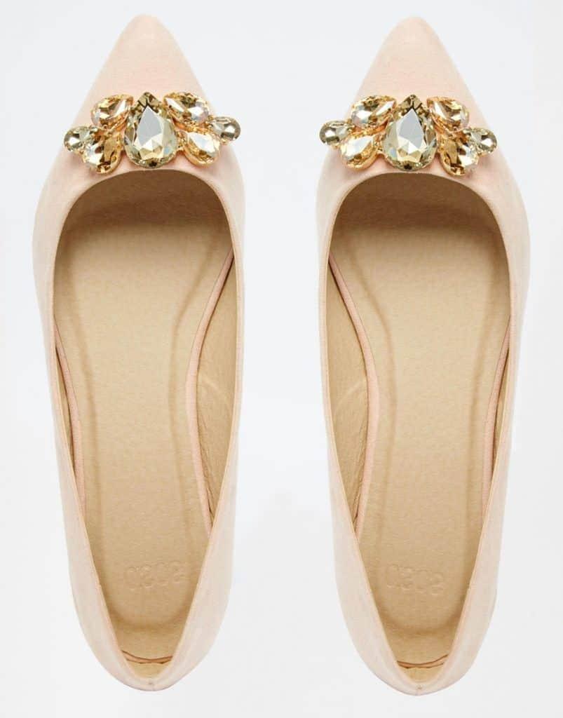 ASOS LADDER Embellished Pointed Ballets, $45, ASOS