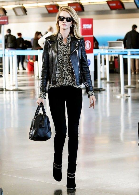 Rosie Huntington-Whiteley wearing a leather jacket