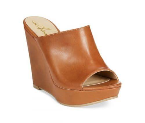 Leather platform mule shoe