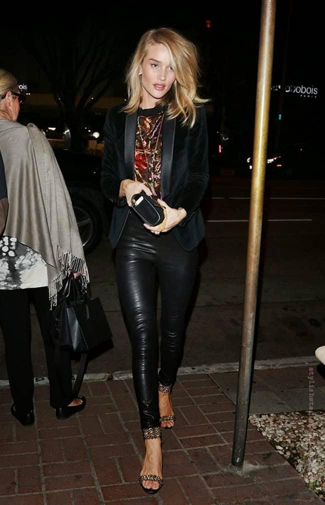 Rose Huntington-Whiteley wearing leather pants