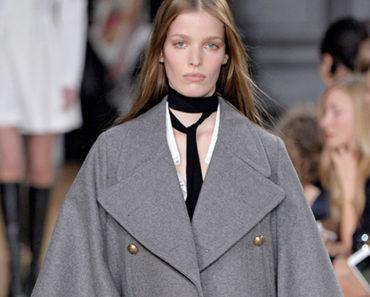 Runway model wearing skinny scarf