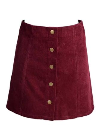 Burgundy button front skirt