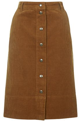 Midi length button front skirt