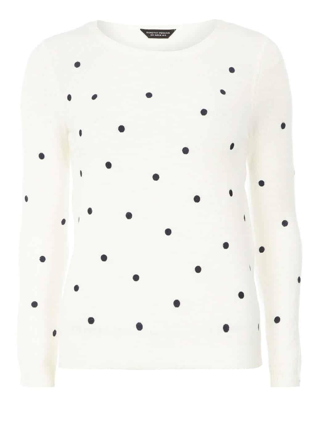 Ivory Polka Dot Knitted Jumper, $35, Dorothy Perkins