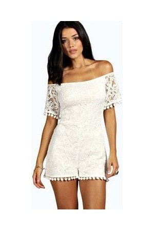 Crochet Lace Playsuit, $16, Boohoo