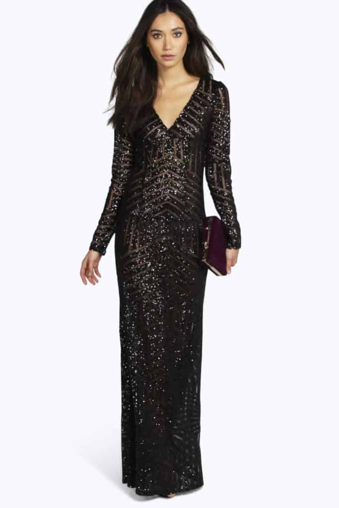 Mia Sequin Maxi Dress, $70, Boohoo