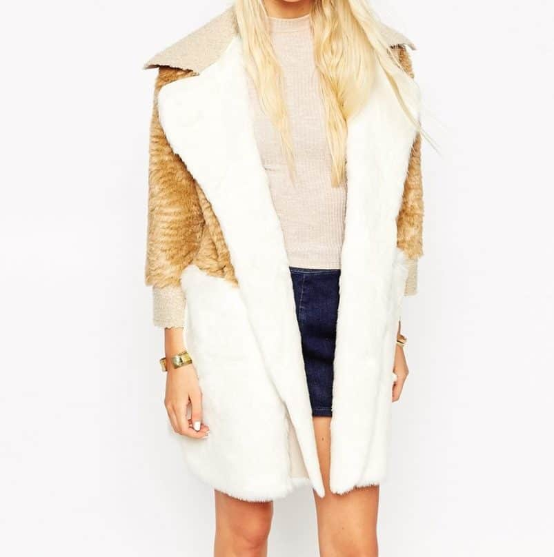 Patchwork Faux Fur and Shearling Coat, $171, ASOS