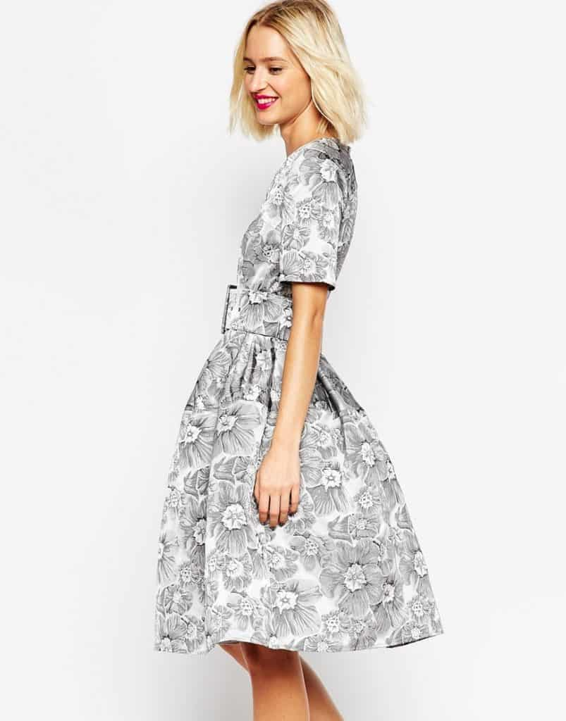 Mono Floral Jacquard Belted Midi Prom Dress, $153, ASOS