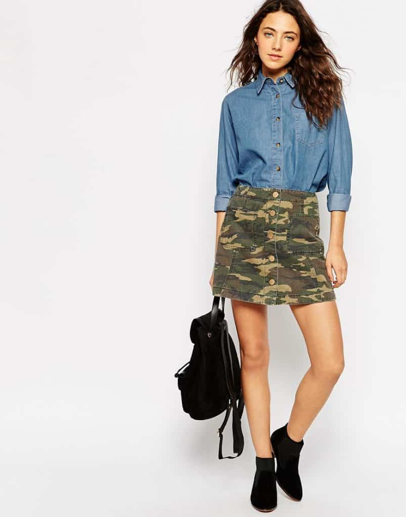 Camo style button front skirt