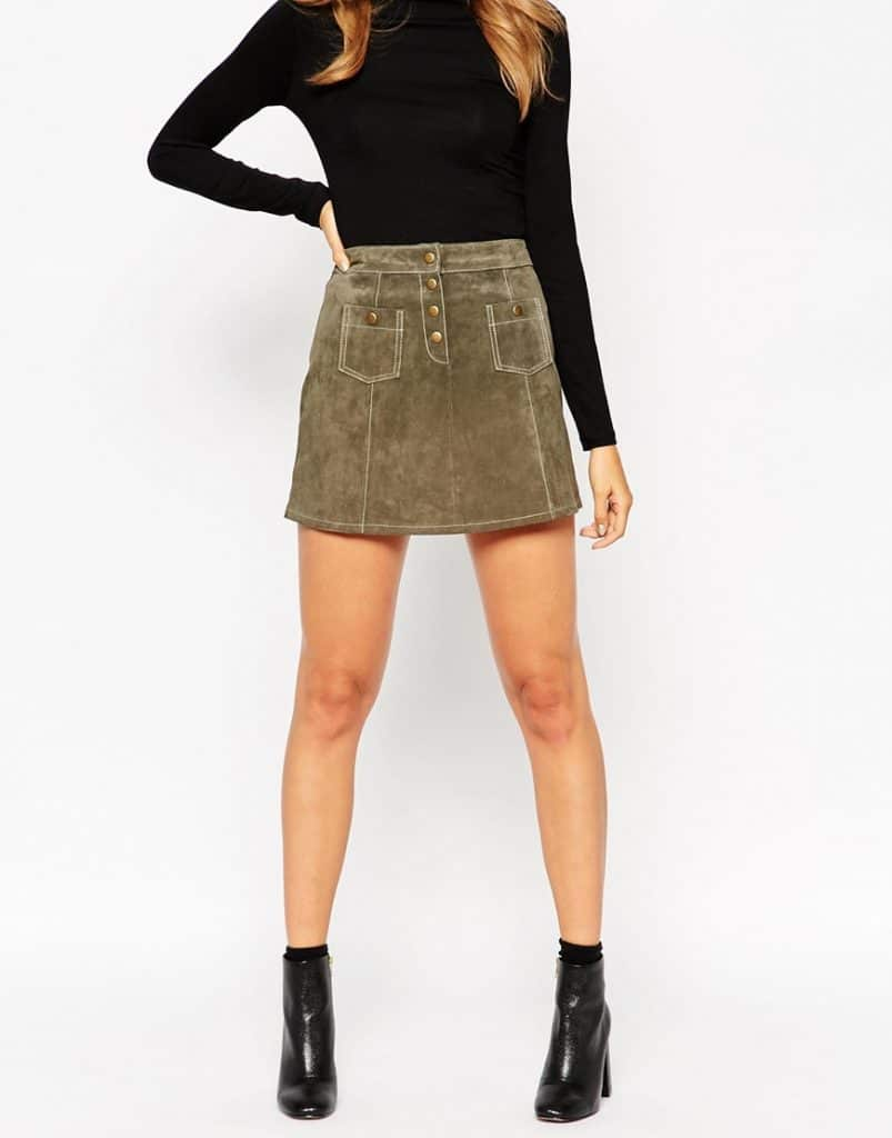 Green corduroy button front skirt