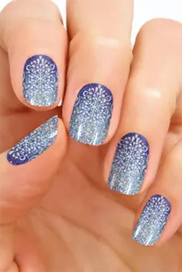 Blue sparkly manicure