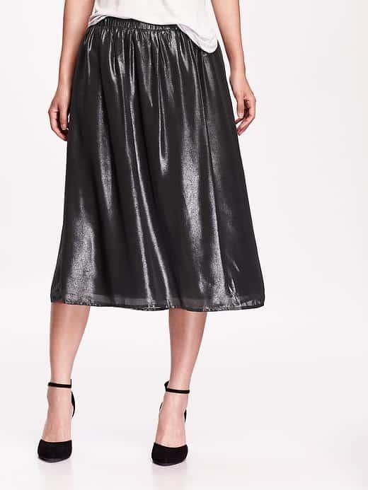 Metallic midi skirt in black