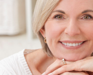 Close up of beautiful older woman