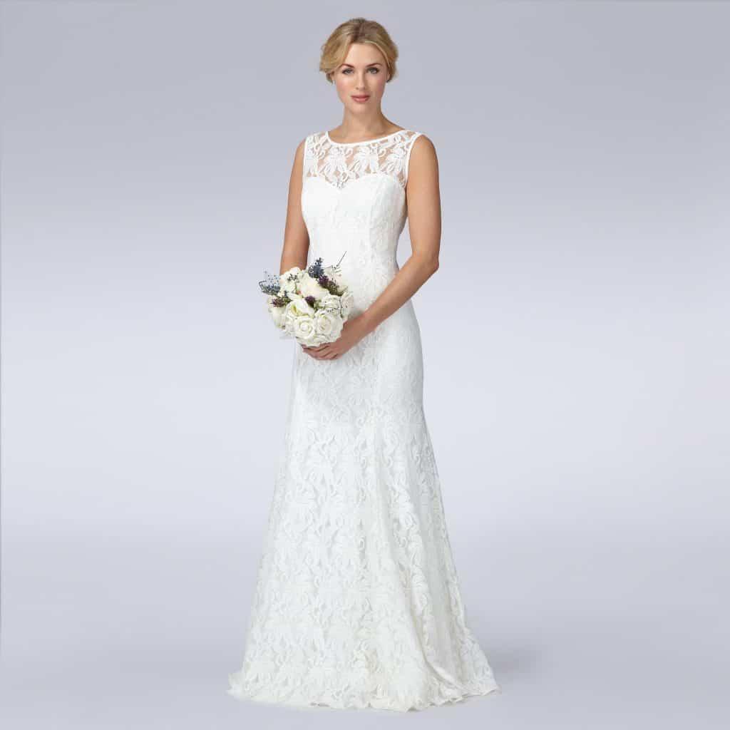 Ivory Lace Wedding Dress, $210, Debenhams