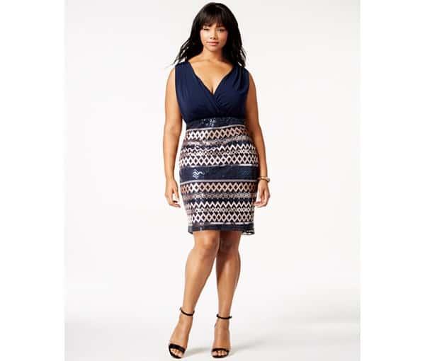 Trixxi Plus Size Cowl-Neck Sequined Party Dress, $81 (on sale), Macy's