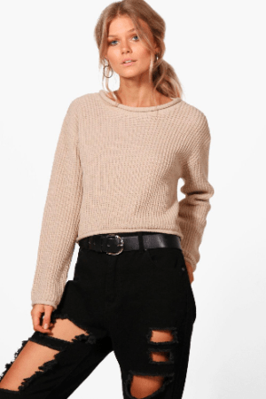 Beige roll hem crop sweater