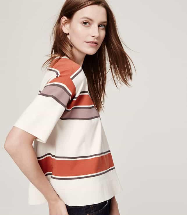 Stripe Crop Sweater, $24.88, LOFT